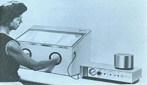 Comco Inc. 50 years ago; original Microblasting system