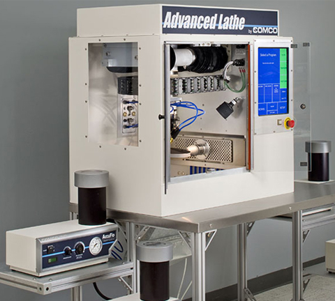 Air bearings etching with Comco Advanced Lathe LA3250 Automated MicroBlasting System
