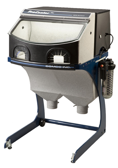 Comco ProCenter Plus workstation with integrated dust collection for micro-precision sandblasting applications