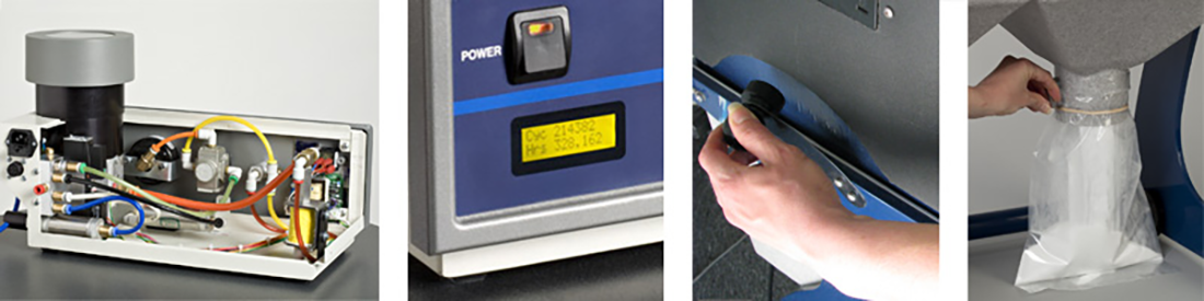 Comco AccuFlo ProCenter Plus features: color coded lines; maintenance counters; dust collection system
