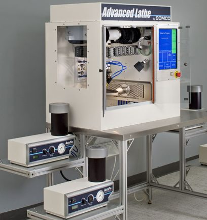 Comco LA3250 Advanced Lathe Automated MicroBlasting System with AccuFlo micro-precision sandblasters.
