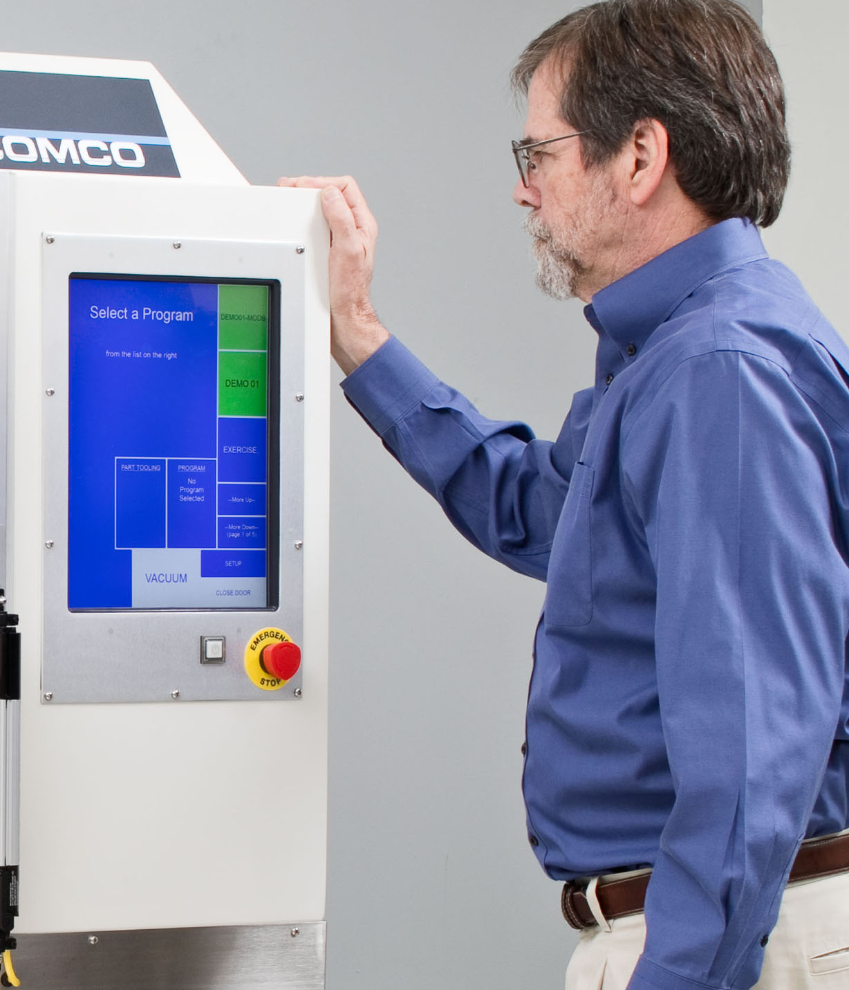 User Interface on Comco Automated MicroBlasting System