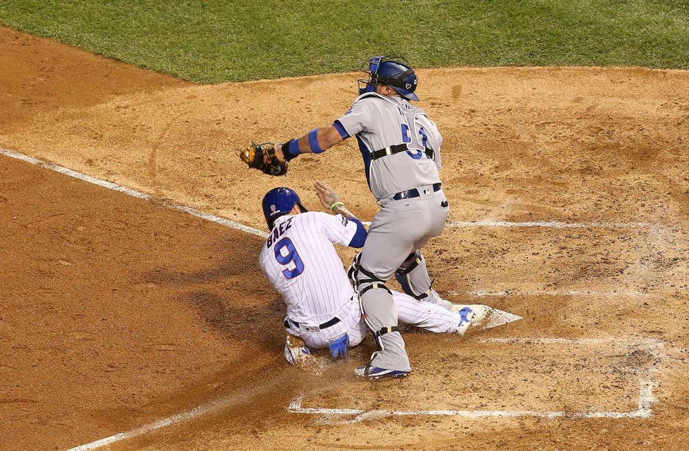 Javy Baez slides into home, Game 1 2016 NLCS