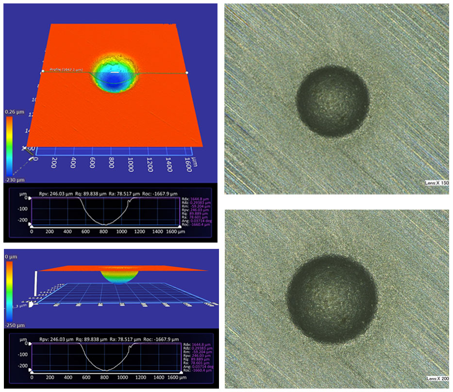 Optical and actual image of eroded spot on a brittle silicon wafer