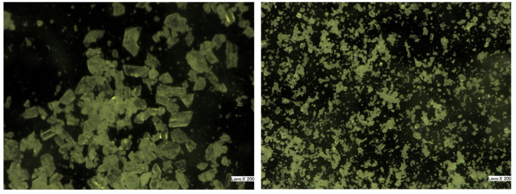 sodium bicarbonate particles before & after blasting.
