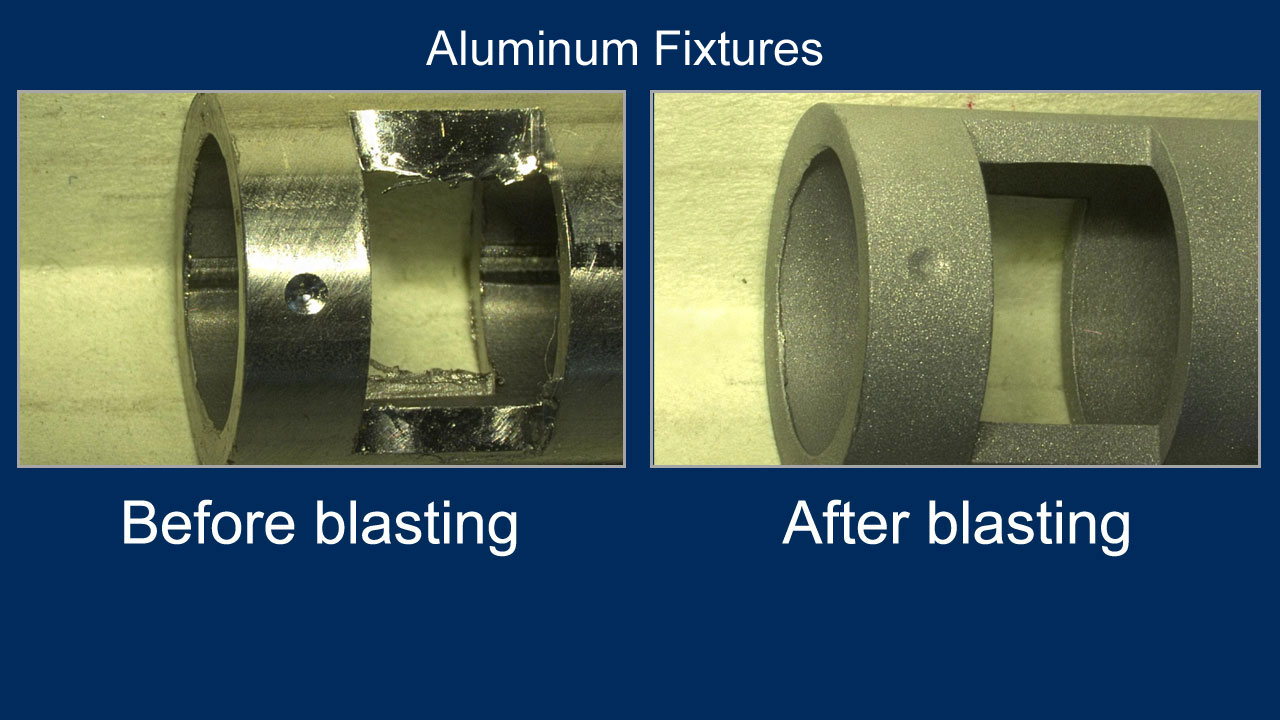 deburring examples: before and after of aluminum fixtures