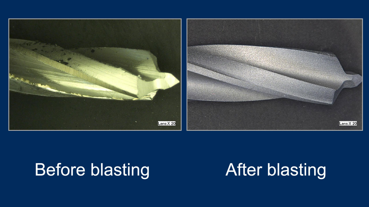 drill bit - before and after deburring with pumice