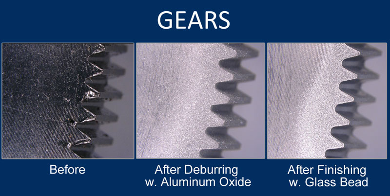 deburring examples: before and after of gears deburred with aluminum oxide and glass bead