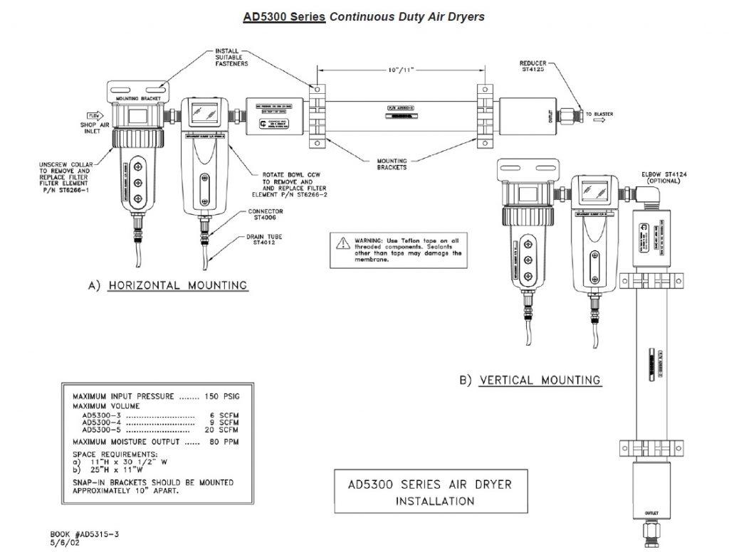 AD5300 Continuous Duty Air Dryer Parts diagram
