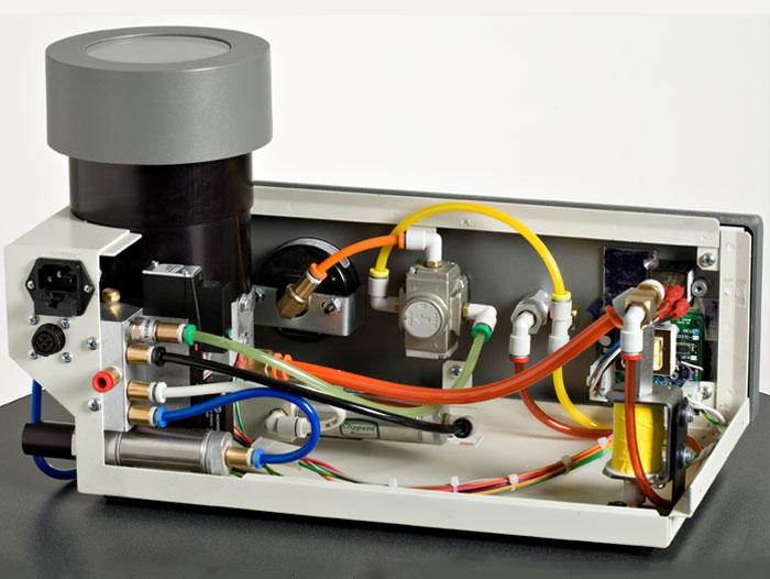 Color-coded components in the AccuFlo micro-precision sandblaster