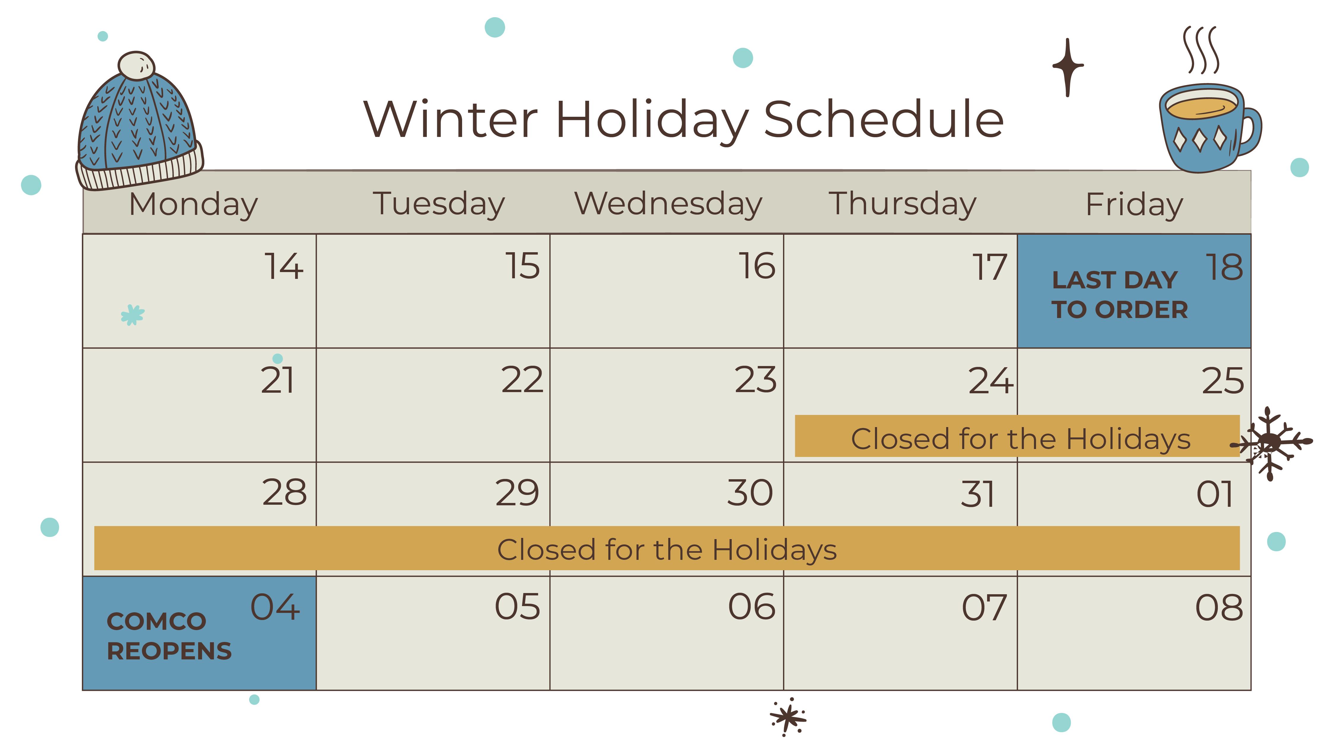 Comco Winter Shutdown Calendar 2019